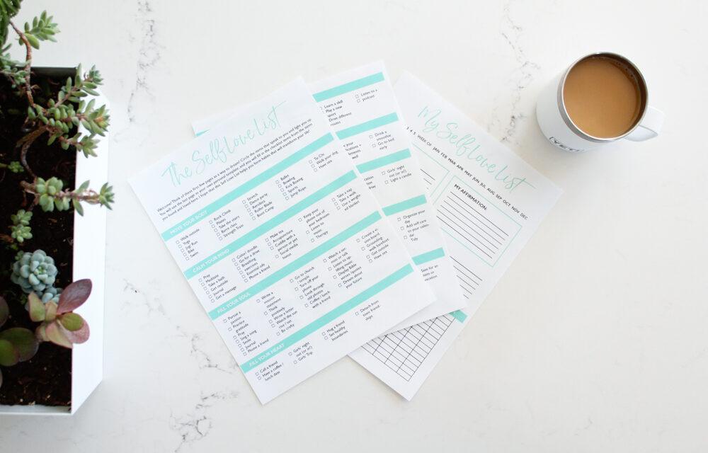 The Self Love List | A Printable Self Care Checklist PDF